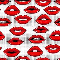 nahtloses Muster mit roten Lippen im Pop-Art-Stil auf abstraktem Hintergrund mit Punkten. Schönheit wiederholte Kulisse. mädchenhafte Tapete. Punkte und Kuss Lippen. bunter Cartoon-Stil. vektor