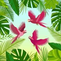 rosa Papageien, grüne Palmblätter, Dschungelblattzusammensetzung. schöne tropische Vektorillustration des Blumensommers lokalisiert. exotischer Vogeldruck. vektor