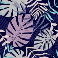 nahtloses Muster mit Blattelementen. Vektormuster mit exotischen Blättern, Zweigen, Zweigen, Gras. nahtloses Muster für Wohnkultur und Textil. idealer Druck für Jugendkleidung. vektor