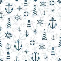 Sammlung von Seeanker, Leuchtturm, Kompass, Rettungsring. nahtloses Muster mit Kratzern. endlose Textur. Urlaub Urlaub Hintergrund. Sommermuster. vektor
