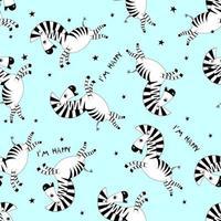 nahtloses Muster Cartoon kleines süßes Baby Zebra fliegen und lächeln. Schablonendesign für Stoff, Umschlag, für Kinder, Feiertagsdekor. vektor