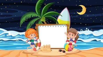 Kinder im Urlaub an der Strandnachtszene mit einer leeren Bannerschablone vektor