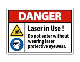 Gefahrenwarnung ppe Sicherheitsetikett Laser in Gebrauch nicht ohne Laserschutzbrille eintreten vektor