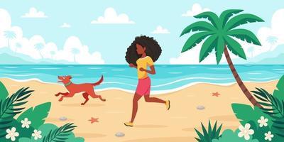Freizeit am Strand. schwarze Frau, die mit Hund joggt. Sommerzeit. Vektorillustration vektor