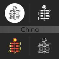 kinesiska smällare mörk tema ikon vektor