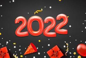 fröhliche neue 2022 Grußkarte mit roten Luftballons und Urlaubszubehör vektor