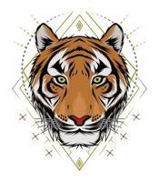 Tigerkopf Illustration. Design Tiger. Design für T-Shirt, Maskottchen, Logo-Team, Sport, Metalldruck, Wandkunst, Aufkleber vektor