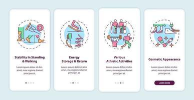 Prothesen für die unteren Gliedmaßen Aufgaben auf dem Bildschirm der mobilen App-Seite mit Konzepten vektor