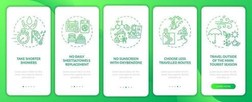 hållbara turismidéer ombord mobilappsskärm med koncept vektor