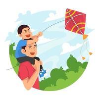 Dan und Sohn spielen Drachen im Park vektor