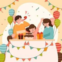 Geburtstagsfeier mit Familienkonzept vektor