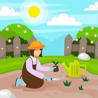 Gartenarbeit zu Hause in flachem Design vektor