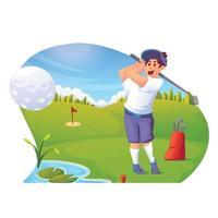 man som spelar golf på den gröna golfbanan vektor