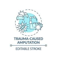 trauma-orsakad amputation koncept ikon vektor