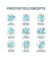 Prothetik Konzept Ikonen gesetzt vektor