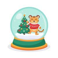 Weihnachtsschneekugel mit einem Tiger und einer Tanne im Inneren. Schneekugelkugel. Vektorillustration. vektor