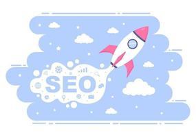 SEO-Optimierungsvektorillustration zu Suchmaschine, App-Entwicklung, Webseiten und Lesezeichen. Zielseite oder Banner-Vorlage vektor