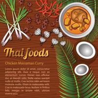 thailändisches köstliches und berühmtes Essen Huhn Curry Massaman mit hölzernem Hintergrund und Zutat vektor