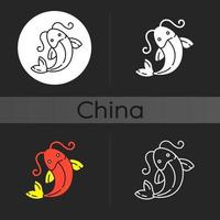 koi fisk mörk tema ikon vektor