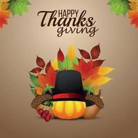 lycklig tacksägelsedagsbakgrund med pumpa och höstblad vektor