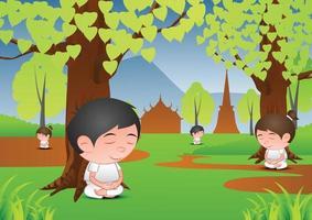 Karikatur des großen Blasenkopf-Mannes und der Frau in der Meditation unter einem Baum vektor