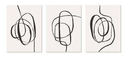 zeitgenössische Vorlagen mit organischen abstrakten Formen und Linien in Retro-Farben. Pastell Boho Hintergrund in minimalistischer Mitte des Jahrhunderts Stil Vektor-Illustration vektor