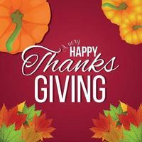 lycklig tacksägelse firande gratulationskort med vektor pumpa och höstlöv