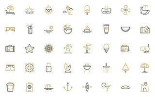 uppsättning sommar tunn linje ikoner vektor