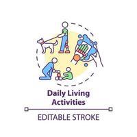 Konzeptikone für Aktivitäten des täglichen Lebens vektor