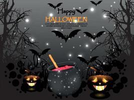 skräckbakgrund för lycklig halloween med glödande pumpa, magisk kruka och flygande fladdermöss vektor