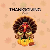 gratulationskort för tacksägelsedagsfirande med kalkonfågel och pumpa med autuminblad vektor