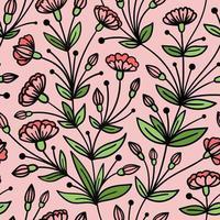 sömlös rosa mönster med vävning av rosa blommor vektor
