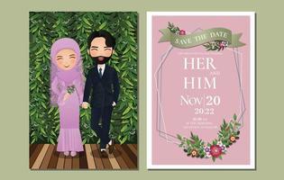 bröllop inbjudningskort bruden och brudgummen söt muslimska par seriefigur med gröna blad bakgrund. vektor illustration