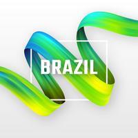 Curl der flüssigen Farbe in brasilianischen Flagge Farben vektor