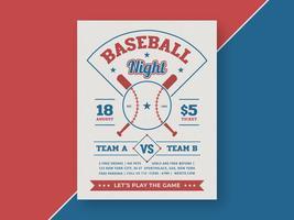 Baseball Nacht Retro Flyer Vektor Vorlage