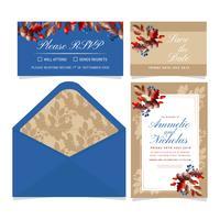 Vektor Herbst Hochzeit Einladung