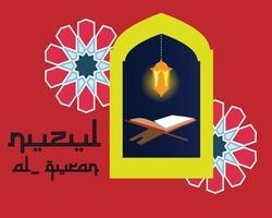 nuzul quran ramadhan kareem vektor