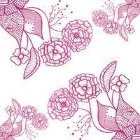 Abstract Doodle Hochzeit Blumen Hintergrund vektor