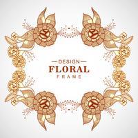 Abstrakt färgstark klotterbröllop blommig ram bakgrund vektor