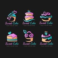 Kuchen-Logo-Sammlung im Farbverlauf vektor