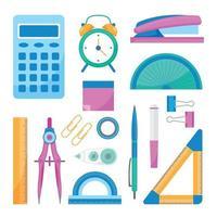 flache Designschule stationäre Ikonensammlung vektor