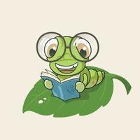 Cartoon Bücherwurm Lesebuch vektor