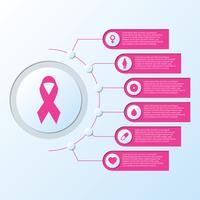 Bröstcancer Medvetenhet Ribbon Symbol Med Nätverk Pilar Ikoner Information Grafisk Mall