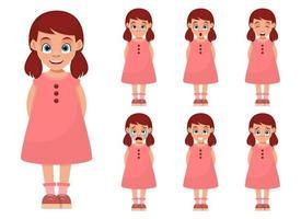 kleine Mädchengesichtsausdrücke-Vektorentwurfsillustration lokalisiert auf weißem Hintergrund vektor
