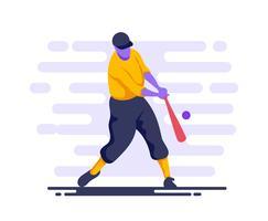 basebollspelare i aktion