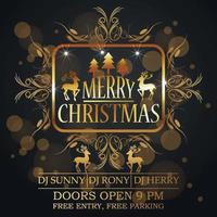 Frohe Weihnachtsfeier-Grußkarte mit goldenem Texteffekt vektor