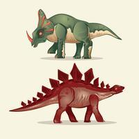Set av Dinosaur. Stegosaurus och Styracosaurus