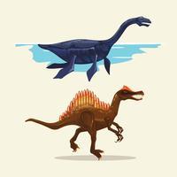 Farbige Illustrationen von verschiedenen Dinosaurierarten. Plesiosaurus und Spinosaurus