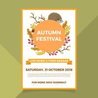 Flache Herbst Herbst Festival Poster Vorlage