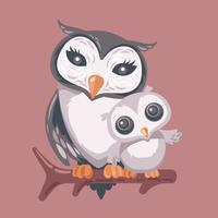 Mama Owl umarmt ihr Baby vektor
